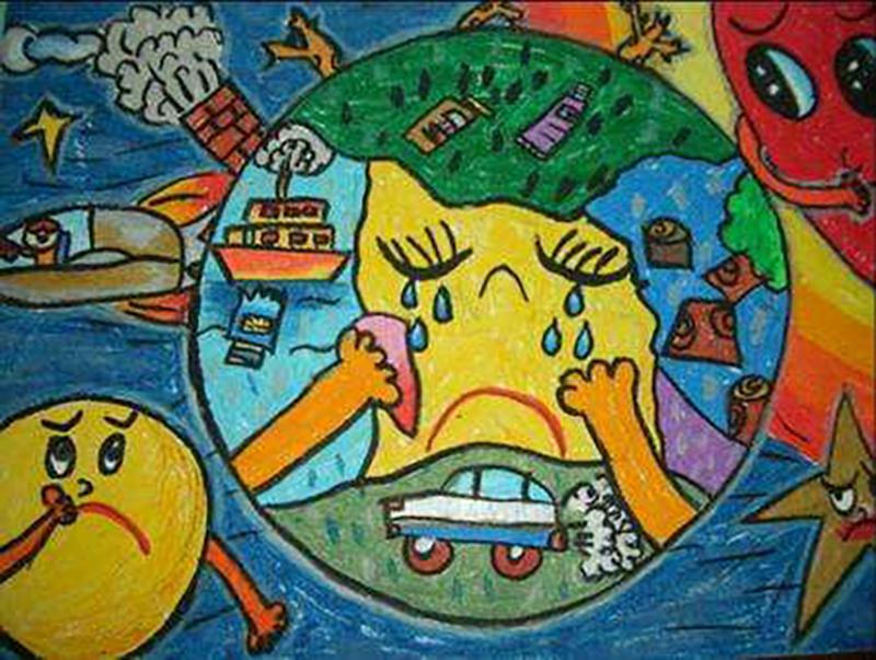 儿童画:地球妈妈体无完肤,伤心欲绝,太阳公公和月亮妹妹也心疼她.图片